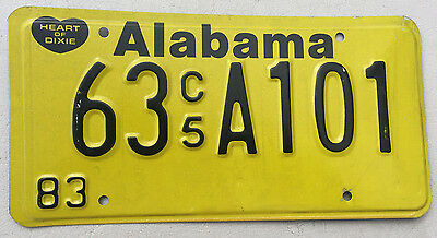 "1983 Alabama C5 Commercial  License Plate "" 63 A101 "" Al 83  Heart Of Dixie"