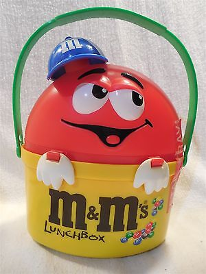 M&M's Red & Yellow Plastic Lunch Box with Blue Hat Euro