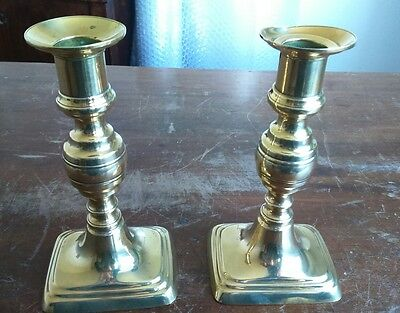 Small Antique Brass Victorian Push Up Candlesticks Candle Holders