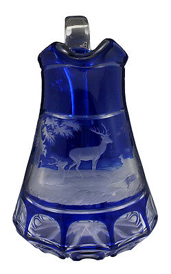 Wonderful 19thC Bohemian Cobalt Cut to Clear Cut Overlay Glass Jug w/ Deer Scene