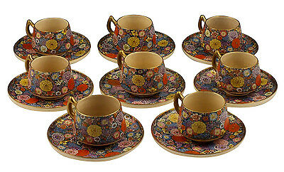 Signed Set of 8 Japanese Meiji Period Satsuma / Millefiori Cups & Saucers