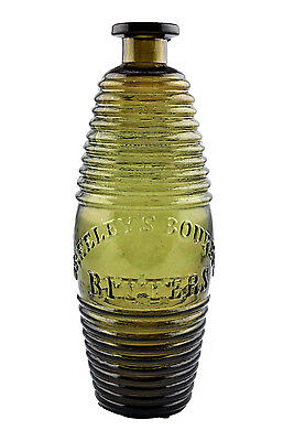 Antique Greeley's Bourbon Bitters Glass Bottle in RARE Topaz Shaded to Green