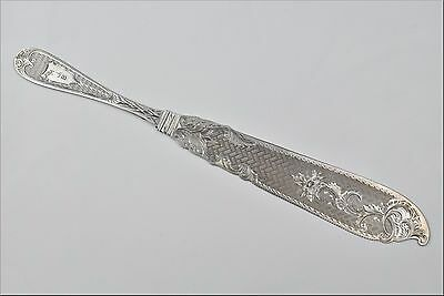 19th Century RC Green American Coin Silver Bread Knife