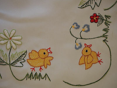 """Vintage Embroidery 10 Chicks Birds Daisy Flowers Baby Crib Throw Cover 15"""" x 34"""""""