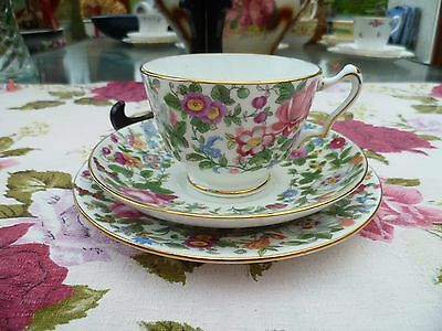 Vintage Crown Staffordshire China Trio Tea Cup Saucer Plate 7117 Floral Chintz