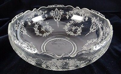 Cambridge Rose Point Etched Glass Large Bowl