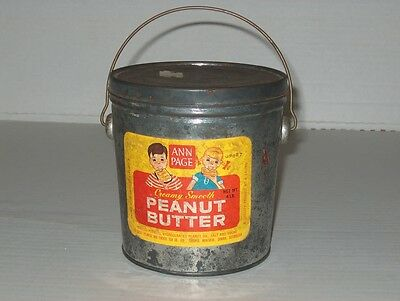 Antique advertising Ann Page A&P peanut butter tin bail handle