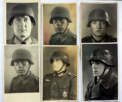 6 Orig. Fotos 2.WK Portraits Stahlhelm Soldaten Uniform Helm 14 x 9 cm TOP Fotos