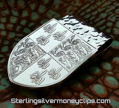 95.6 SHIELD COAT OF ARMS 925 935 Argentium Sterling Silver Money Clip USA