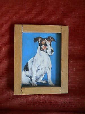 Oil on wood painting of Jack Russell terrier dog