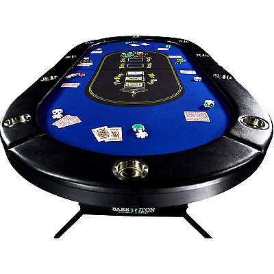 Texas Holdem Poker Table 10 Player Folding Blackjack Felt Built In Drink Holders