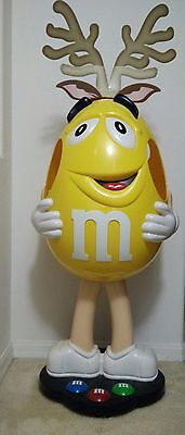 """Giant M&M Yellow Display Figure, 42"""" Tall Unique with antlers"""