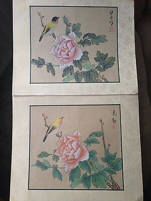 pair of Chinese hand painted on silk paintings, flowers & birds