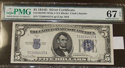Series of 1934D $5 Silver Certificate Note - PMG 67EPQ!