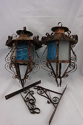 2 Vintage Copper & Blue Glass Mexican Wall HANGING LANTERNS LAMPS w Brackets