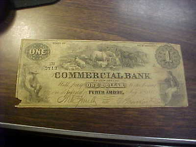 1856 Perth Amboy Michigan Commercial Bank  $1 Obsolete Currency  Note