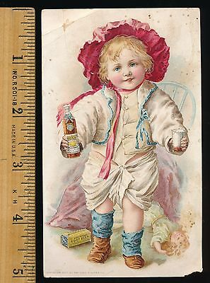 Victorian Hires Root Beer Trade Card Bottle Box Boy Toys Devils Lake Nd Imprint