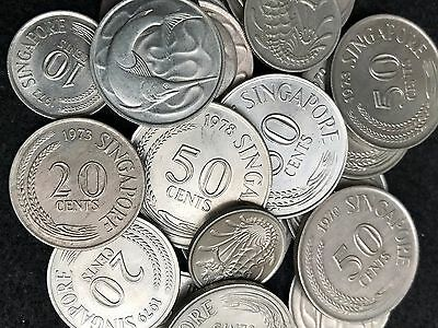 134g/22 randomly picked coins from Singapore as pictured...................#0985