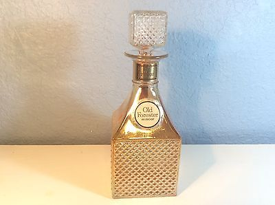 Vintage Liquor Bottle Decanter Old Forester Diamond Cut Gold Iridescent Glass