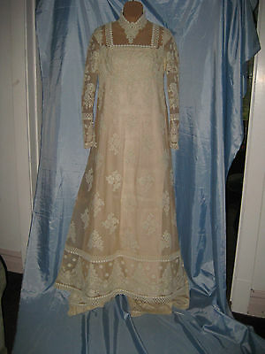 Vintage 1970's Henri Bendel Boutique Designer Wedding Dress Gown Ivory Train