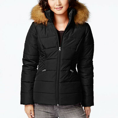 KRUSH $69 NEW Black 1463 Faux Fur Trim Puffer Quilted Womens Jacket Coat S