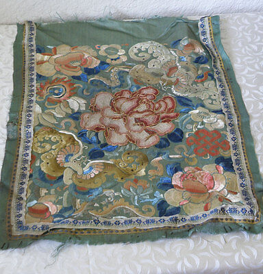 Antique CHINESE TEXTILE 2 Bats, Flowers on Silk