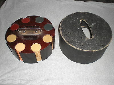 Antique Vintage Clay Poker Chip Set With Carousel Holder, 200 Chips