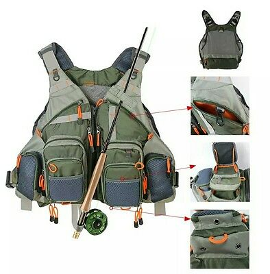 Fly Fishing Mesh Vest General Size Adjustable Mutil-Pocket Outdoor Fishing