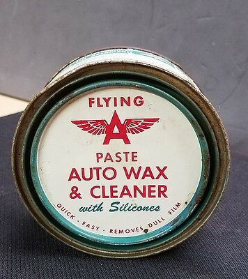 Flying A paste auto wax and cleaner oil can Veedol Tydol