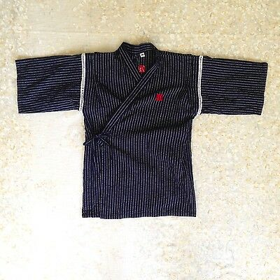 Boys' Sz XS 4-5 Happi Coat Blue Striped Japanese Short Kimono Kid Child Festival