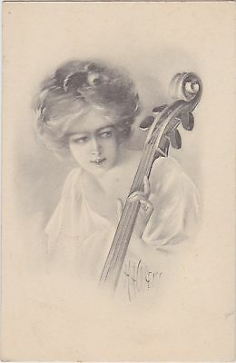 Antique C.1910 Artist Signed Postcard~H.a. Weiss~Woman Playing Cello~G&b Publ.