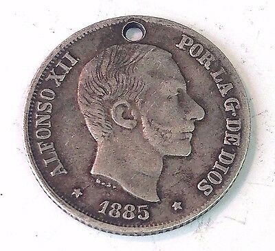 1885 Philippines 10 Centimos, Spain Empire silver coin, VF+ detail (holed)