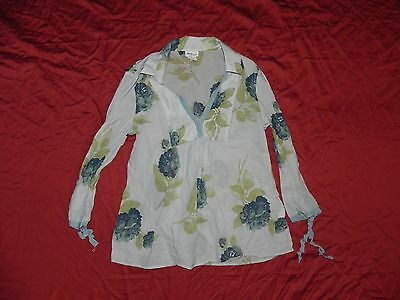Mimi Maternity Blue Floral Button Down Shirt Top Small S Very Light & Thin