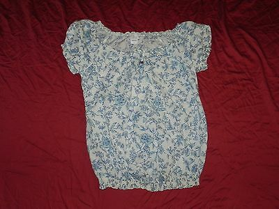 Oh! Baby by Motherhood Maternity Blue & White Floral Shirt Top Large L