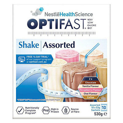 NEW Optifast VLCD Assorted Flavour Shakes - 10 x 53g Sachets