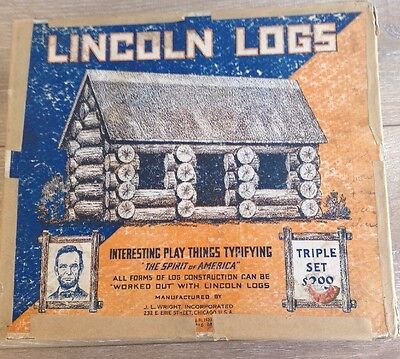 Vintage J L Wright Lincoln Logs Complete w/ Box & Instructions 1920's