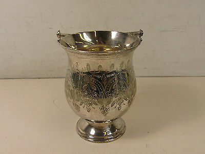 Leonard Silverplate Silver Plate Bucket Vase With Handle Floral Design