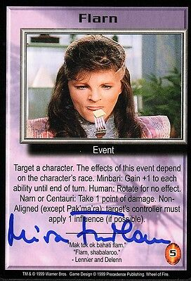 BABYLON 5 CCG Mira Furlan WHEEL OF FIRE SERIES Flarn TC AUTOGRAPHED