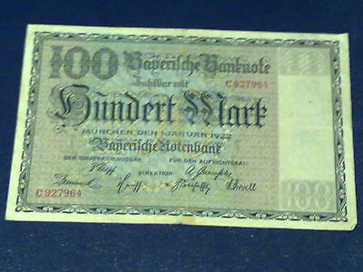 Germany - Bayerish-100 Mark  Banknote 1922 - Munich-Very Fine