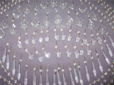 144pc Lot Asfour Lead Crystal Chandelier Prisms Icicles French Teardrops Yards