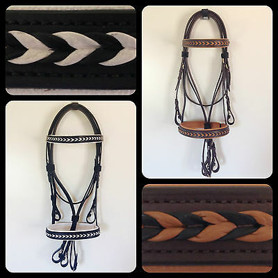 Black/white Brown/tan Leather Horse Bridle & Reins Cob Full Xxf/draft Clydesdale