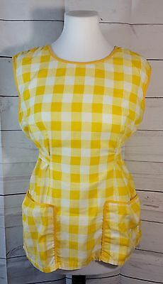 Medium/Large Tunic Smock Tie-Back Apron Yellow Checks Front Pockets Split Back