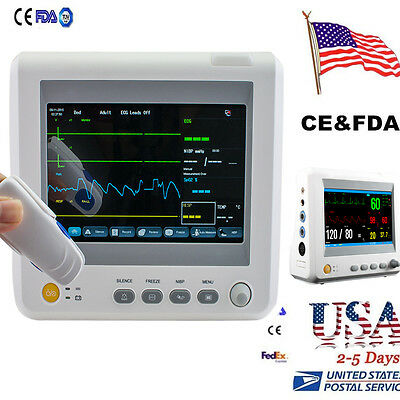 USA 6-parameter ICU CCU Vital Sign Patient Monitor EKG Machine NIBP SpO2 PR TEMP