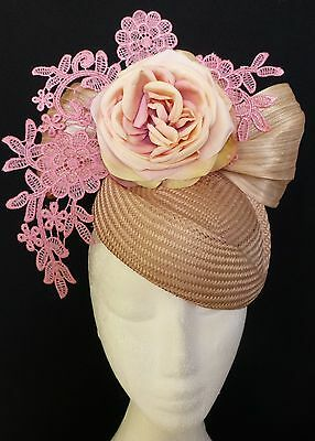Cream Nude Pink Rose Flower Lace Bow Loops Hat Fascinator Races Wedding