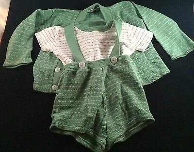 Vintage Childs Romper Tshirt Sweater Set Green White Jackney Of CA 50's? 60's?