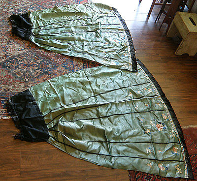 Antique CHINESE TEXTILES 2 Skirt Panels Embroidery on Green Silk