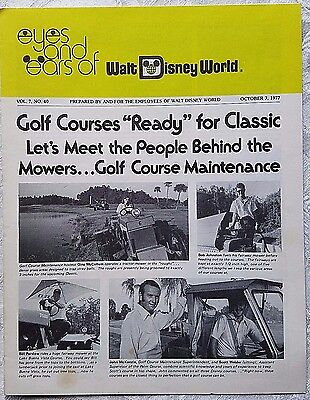 Rare Oct 1977 Disney Wdw Eyes & Ears Cast Newsletter Golf Course Maintenance