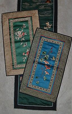 Three Old Chinese Silk Embroidery Panels Birds Flowers Butterflies Figures