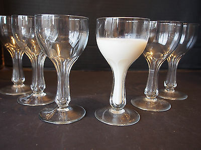 6 Art Deco Etched Cut Crystal Open Hollow Stem Goblet Wine Champagne Glasses 5""