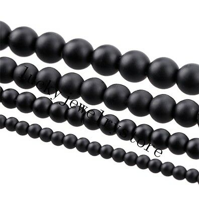 5A Quality Black Round Natural Stone Beads 4/6/8/10/12/14mm 15.5 Inch Choose